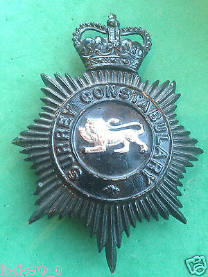 OBSOLETE SURREY CONSTABULARY HELMET PLATE / BADGE - police