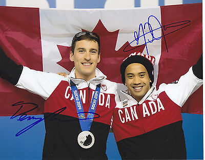 Denny Morrison & Gilmore Junio Signed 14 Olympics Speed Skating 8X10 Photo Proof