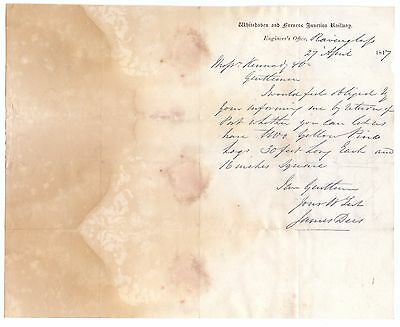 Scarce Headed Letter,Whitehaven and Furness Junction Railway 1847  (W 1)