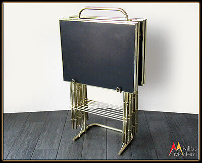 Vintage 60s Mid Century Modern Gold Bamboo & Black TV Tray Set w/ Carrier NICE