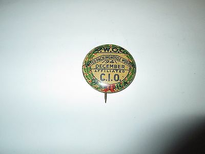 P.W.O.C. of America United Packinghouse Workers December 1941 Pinback Button Pin