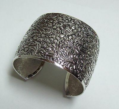 Vintage Sarah Coventry Wide Embossed Silvertone Cuff Bracelet
