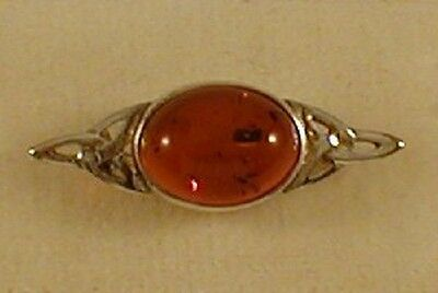 Real Silver Real Oval Amber Brooch Pin