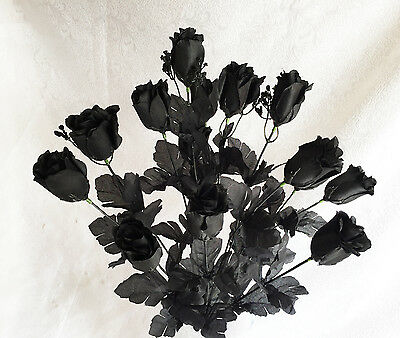 14 Long Stem Roses ~ BLACK ~ Silk Wedding Flowers Centerpieces Bridal Bouquets