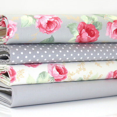 FQ x 4 Bundle ASCOT ROSE FLORAL & DOT 100% COTTON FABRIC - GREY AND IVORY