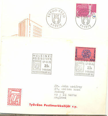 Finland four covers to the UK, all with commemorative postmarks