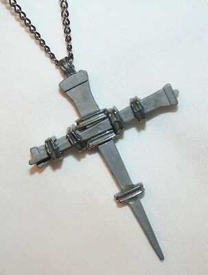 Handsome Chunky Beveled Crucifixion Nail Stake Cross Silvertn Religious Necklace