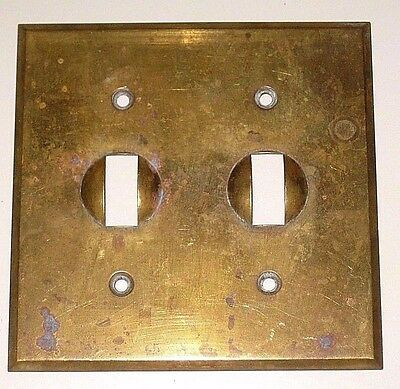 "Vintage Solid Brass Electric Wall Double Switch Plate Cover Ge USA 4.5"" x 4.5"""