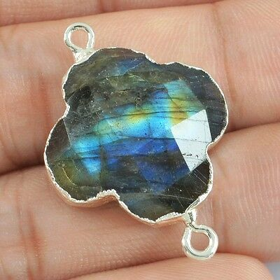 Clover Natural Labradorite Faceted Connector Silver Plated H81852