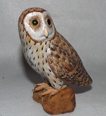 Wooden Barn Owl Figurine on Wood Base - Metal Talons - Excellent!