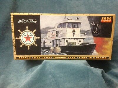Vintage Ertl Collectibles Texaco Fire Chief Tugboat Bank 2000 Millennium In Box