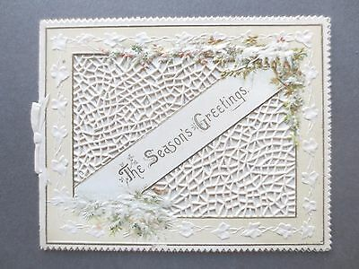 Antique Christmas Card Intricate Die Cut Design Icicles Snow Branches Tiny Bird