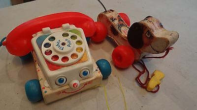 Vintage Fisher-Price Little Snoopy Puppy Wood Pull Toy 1965 1985 chatter phone