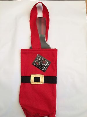 3 x Red christmas felt wine  bottle size small gift bag/wrapping