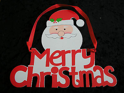"merry christmas santa claus ,father xmas wooden wall hanging plaque 8"" x 9"""