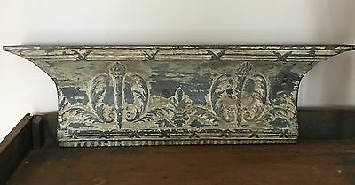 "Antique Tin Ceiling Tile Shelf 3.5 RECLAIMED Shabby Gray & Tan Torches 42"" B85"