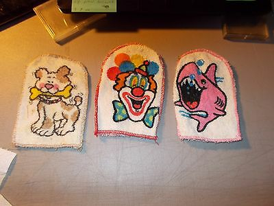 Vintage Lot Of 3 Child Bath Mitt Mitten Puppet Wash Cloth Dog , Shark And Clown