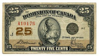 Dominion of Canada 1923 Currency Note - Twenty Five Cents - AI293
