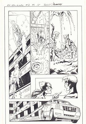 All-New X-Men #2 p.15 - X-23 Wolverine & Angel Action - 2016 art by Mark Bagley
