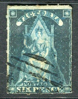 AUSTRALIA  VICTORIA 1850s early classic rouletted QV used 6d. value