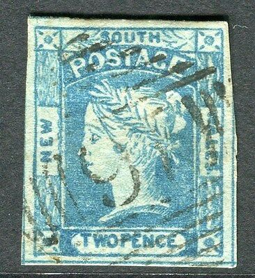 AUSTRALIA  NEW SOUTH WALES 1850s early classic QV Imperf 2d. used value