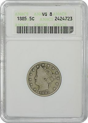 1885 Liberty Nickel VG8 ANACS Very Good 8