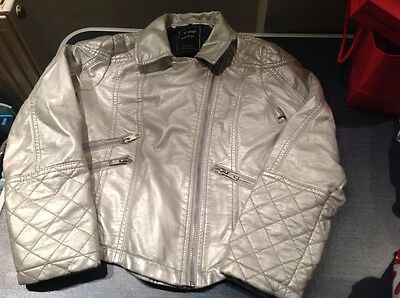 Girls Next champagne silver faux leather jacket age 7-8 years