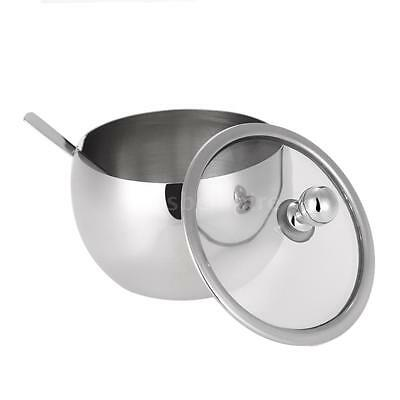 Stainless Steel Sugar Bowl W/ Lid Cover And Spoon Seasoning Food Contain C1C8