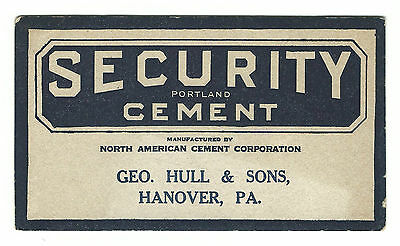 Old Advertising Blotter Security Portland Cement Geo Hull & Sons Hanover PA