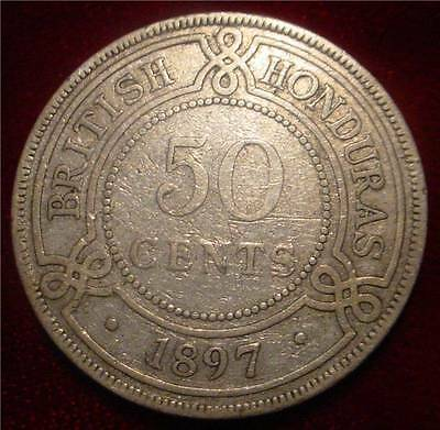 Rare Very Scarce Silver.925 1897 50 Cents British Honduras*only 20.000 Minted