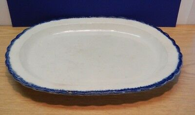 "Antique pearlware 18"" oval platter with feather blue edge unmarked c1800's"