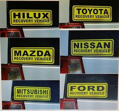 RECOVERY  VEHICLE STICKER -  Pick one to suit  - self adhesive all weather