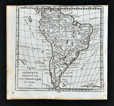 1750 Vaungondy Map - South America Brazil Argentina Chile Peru Paraguay Amazon