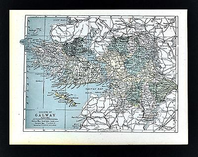 1900 Ireland Map - Galway County - Athenry Loughrea Tuam Aran Islands Dunmore