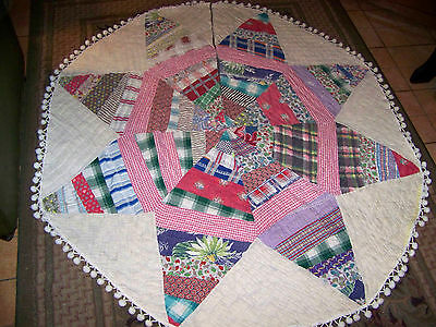 antique vintage STAR CUTTER QUILT CHRISTMAS TREE SKIRT primitive country prairie