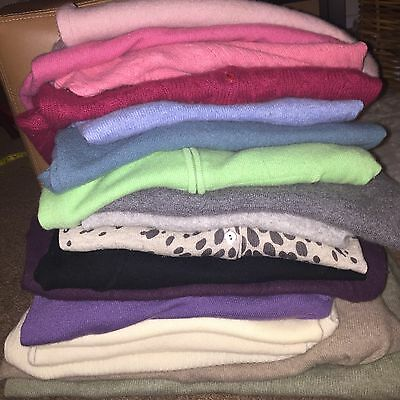 Lot of 18 Multi Color 100% Cashmere Sweaters Craft Cutter Upcycle