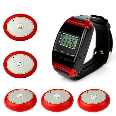 New Wireless Restaurant Calling System Watch Receiver+5 Call Button 12V 23A TOP!