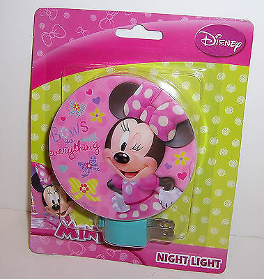 "Disney MINNIE MOUSE ""Bows"" NIGHT Nite LIGHT Bedroom Bathroom Hallway LAMP NEW!"