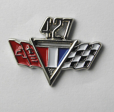 CHEVY 427 ENGINE CHEVROLET FLAGS CLASSIC AUTOMOBILE CAR EMBLEM PIN 3/4 inch