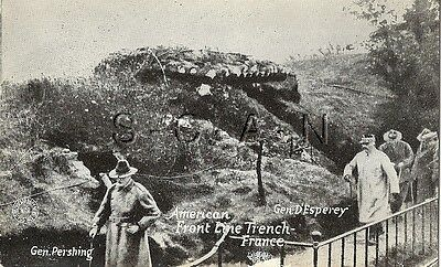 WWI Era US Postcard- Army- Trench- Bunker- General Pershing- France- 1917-18