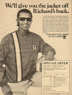 1972 vintage ad, Cool-Ray Sun Glasses' Richard Petty racing Jacket offer- 072813