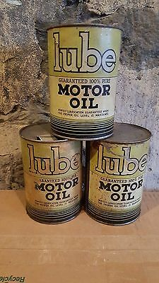 Lot of 3 Old LUBE Quart Metal Oil Cans 1930's
