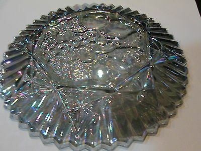Large 1960s Federal Glass Pioneer Pattern Amethyst Plate Grapes Fruit Fluted
