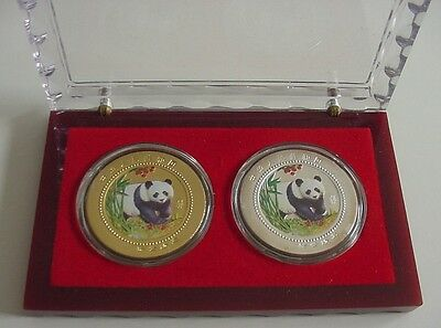2 China Coloured Gold & Silver Plated Panda/Temple Coins With Case