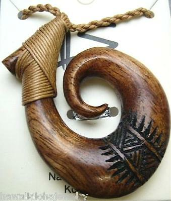 36.5mm Genuine Hawaiian Koa Wood Maori Tribal Tattoo Koru Fish Hook Necklace