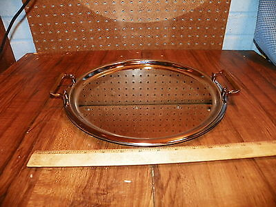 "Vintage Round Chrome 12"" Serving Tray w Brass Handles                          +"