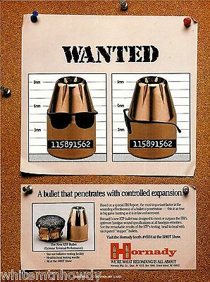 1990 HORNADY XTP Bullet Ammunition Wanted Poster AD Vintage Ammo Advertising