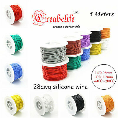 5 Meters 28 AWG Flexible Silicone Wire RC Cable 28AWG Outer Diameter 1.2mm Wire
