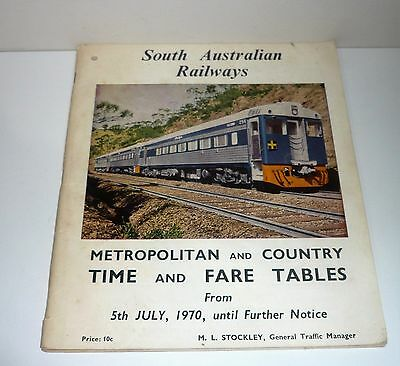 SOUTH AUSTRALIAN RAILWAYS 1970s  TIME AND FARE TABLES