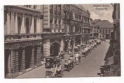 SINGAPORE - Battery Road; vintage printed card.